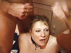 big old Lady fuck hard with two man