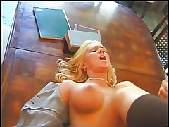 Beautiful blonde with big juicy tits gets fucked on the dining room table