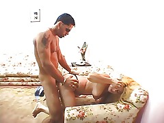 Thick white blonde whore loves big latin dick in her ass and pussy and facials