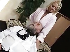 Blonde fucked by old