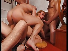FRENCH MILF WITH GLASSES IN GANG BANG PARTY