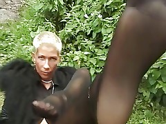 Short-haired MILF Gives A Great Sexy Show  On The Grass