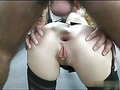 Skinny Sarah gets assfucked by two bastards S88