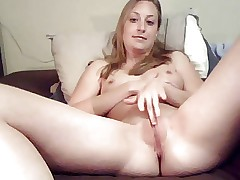 amateur blonde milf strokes her pussy