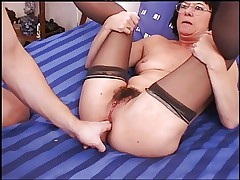 Gaping Anal Granny in Stockings