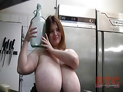 Anorei Collins shows her beautiful boobs in the kitchen