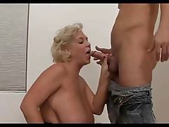 Busty Blonde Mature with young guy