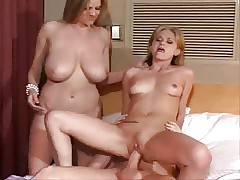 Busty Mom And Young Girl Triple Fun