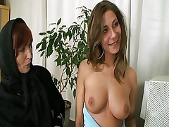 Mature couple with a busty slut at office