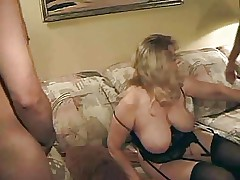 Chubby mature masturbates in solo and fucks with two boy