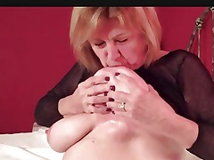 Natural Busty Mature Martiddds: Self-suck Nipple Compilation