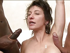 Double anal for French MILF Zaza