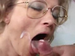 German granny gets fist fuck and facial